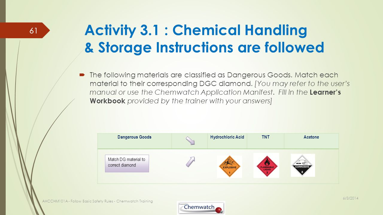 Activity 3.1 : Chemical Handling & Storage Instructions are followed