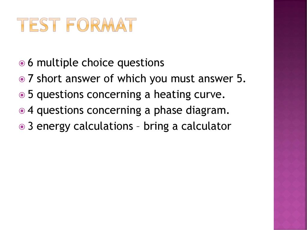 30 test format 6 multiple choice questions