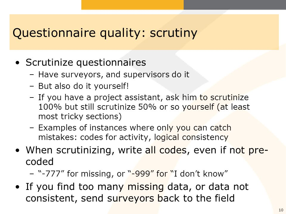 Questionnaire quality: scrutiny