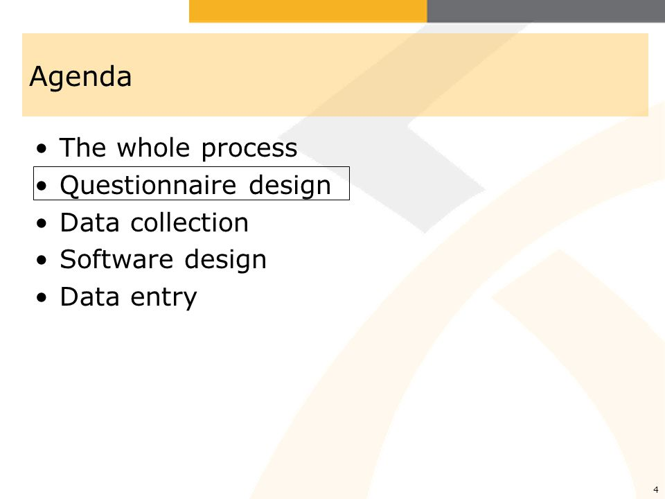 Agenda The whole process Questionnaire design Data collection