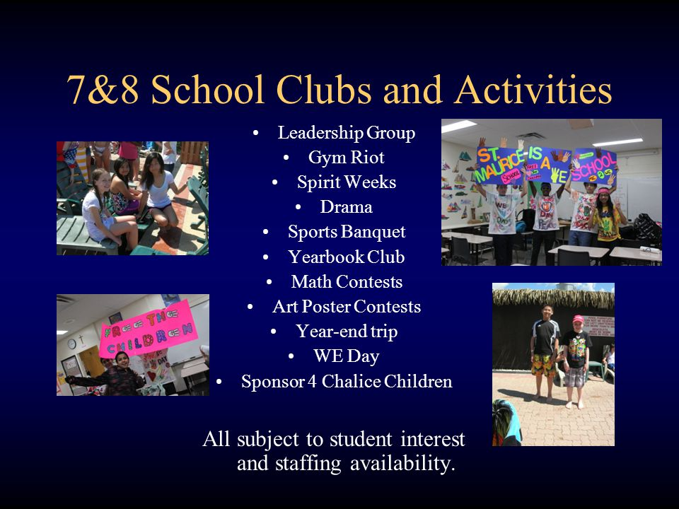 7&8 School Clubs and Activities