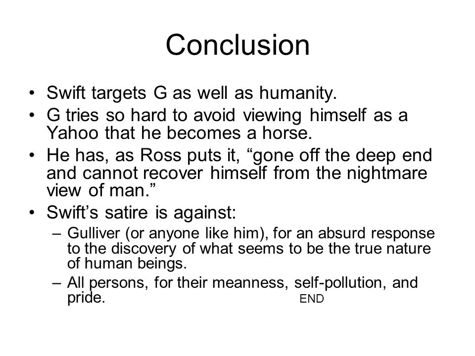 Conclusion Swift targets G as well as humanity.