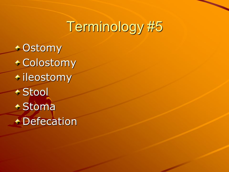 Terminology #5 Ostomy Colostomy ileostomy Stool Stoma Defecation