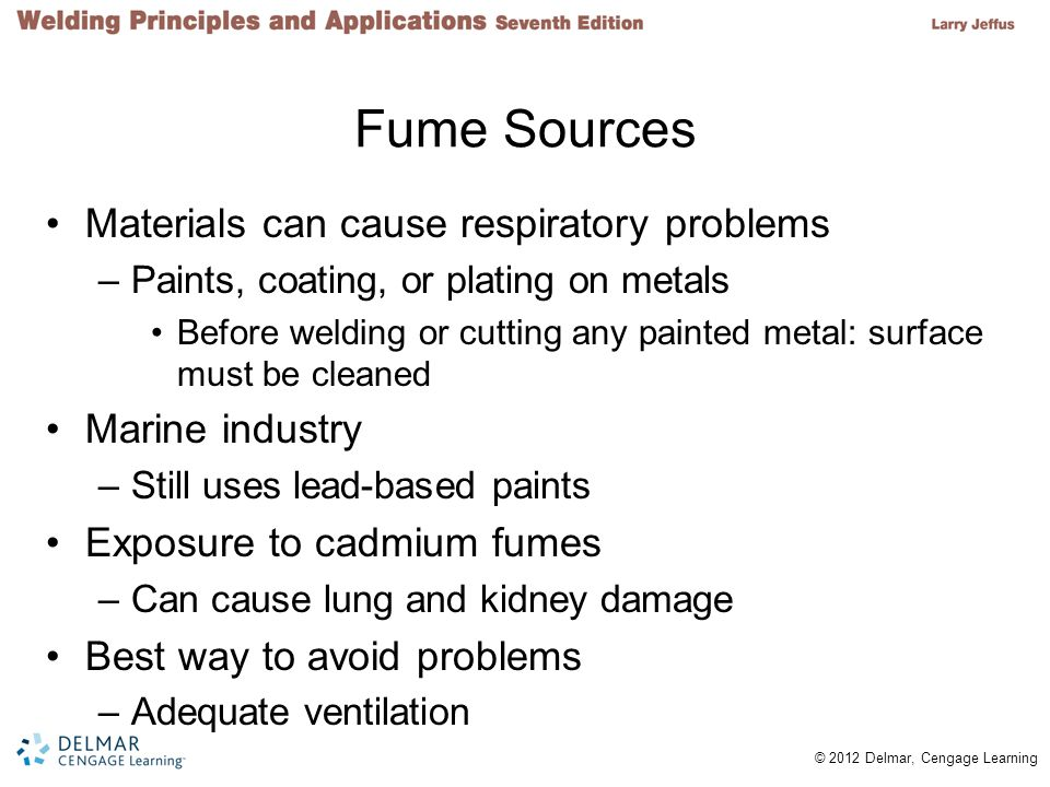 Fume Sources Materials can cause respiratory problems Marine industry