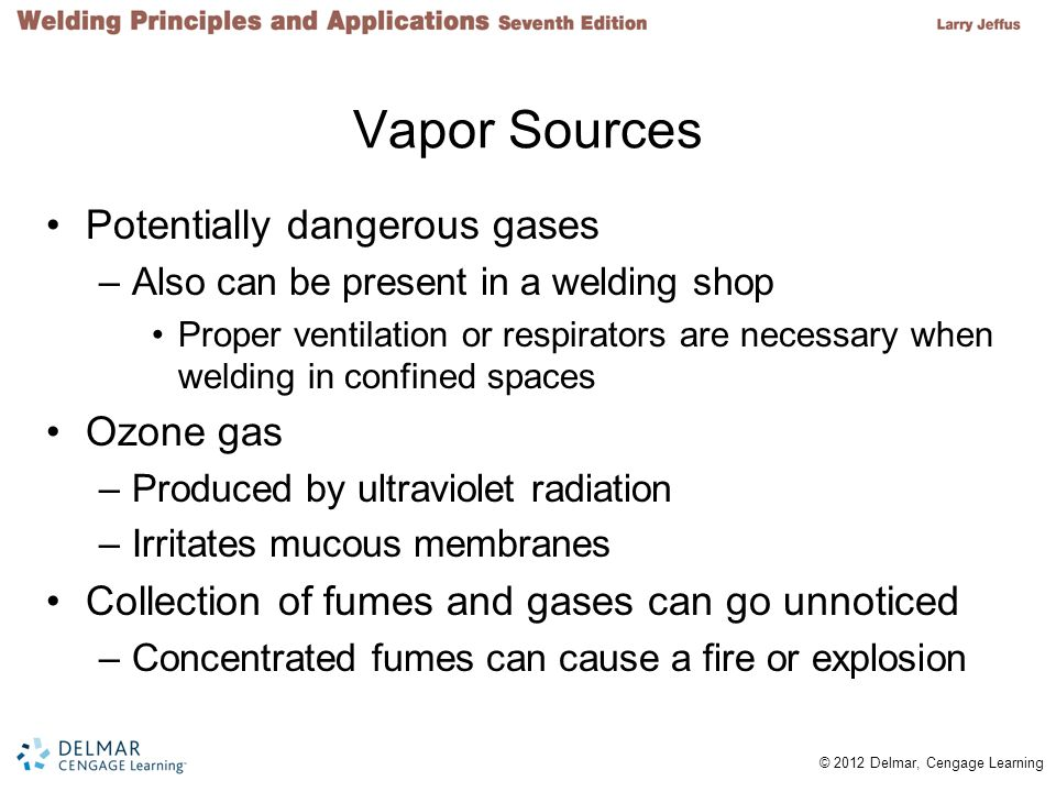 Vapor Sources Potentially dangerous gases Ozone gas