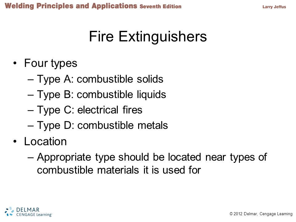 Fire Extinguishers Four types Location Type A: combustible solids