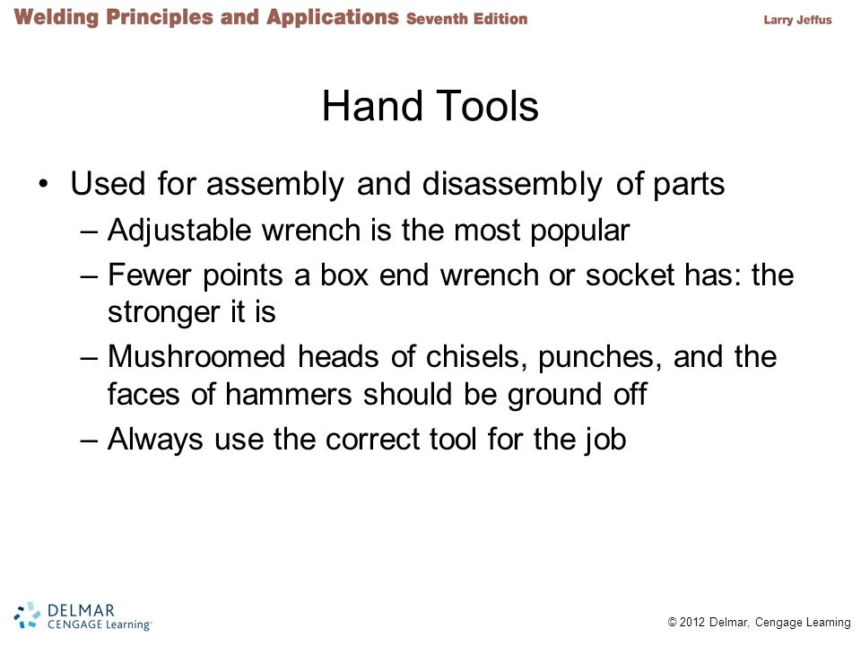 Hand Tools Used for assembly and disassembly of parts