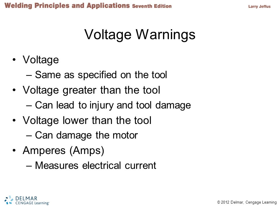 Voltage Warnings Voltage Voltage greater than the tool