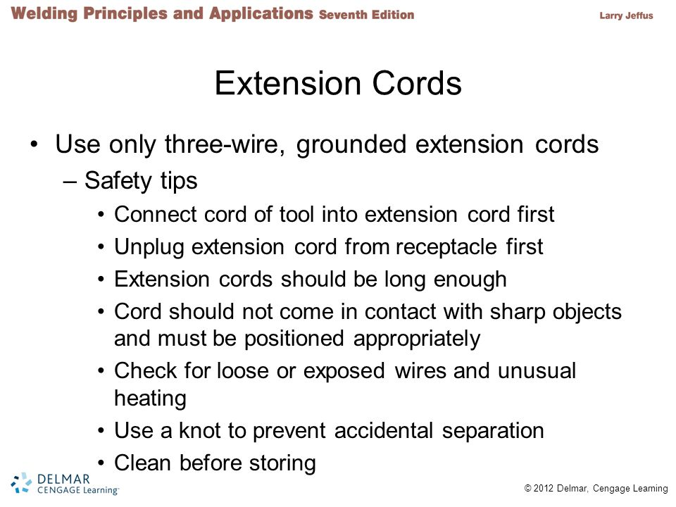 Extension Cords Use only three-wire, grounded extension cords