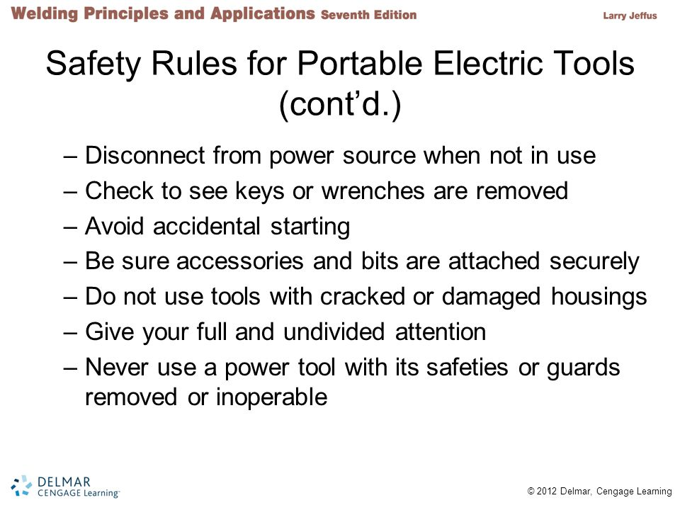 Safety Rules for Portable Electric Tools (cont'd.)
