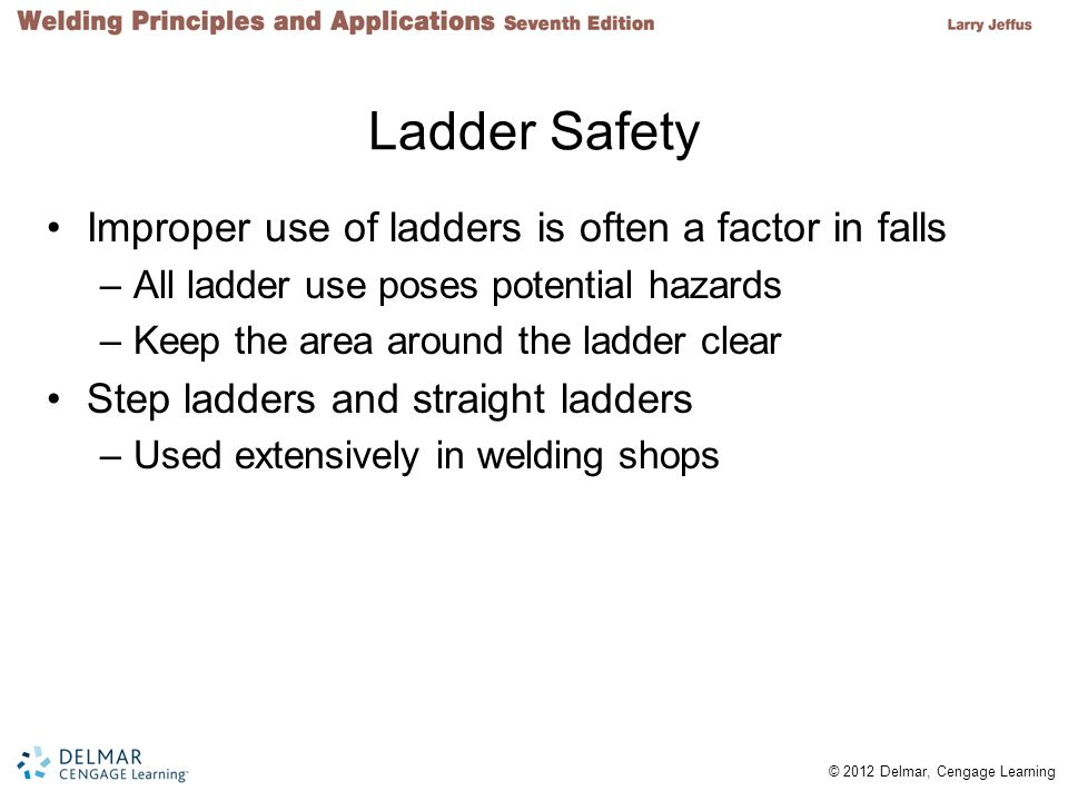 Ladder Safety Improper use of ladders is often a factor in falls