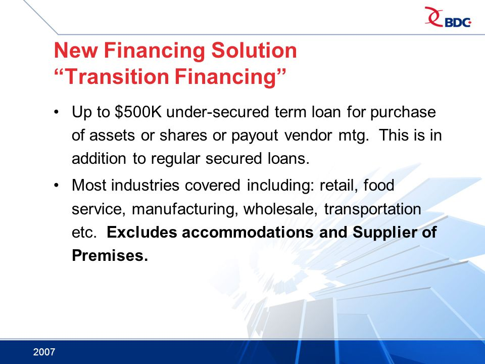 New Financing Solution Transition Financing