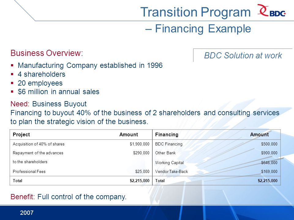 Transition Program – Financing Example Business Overview: