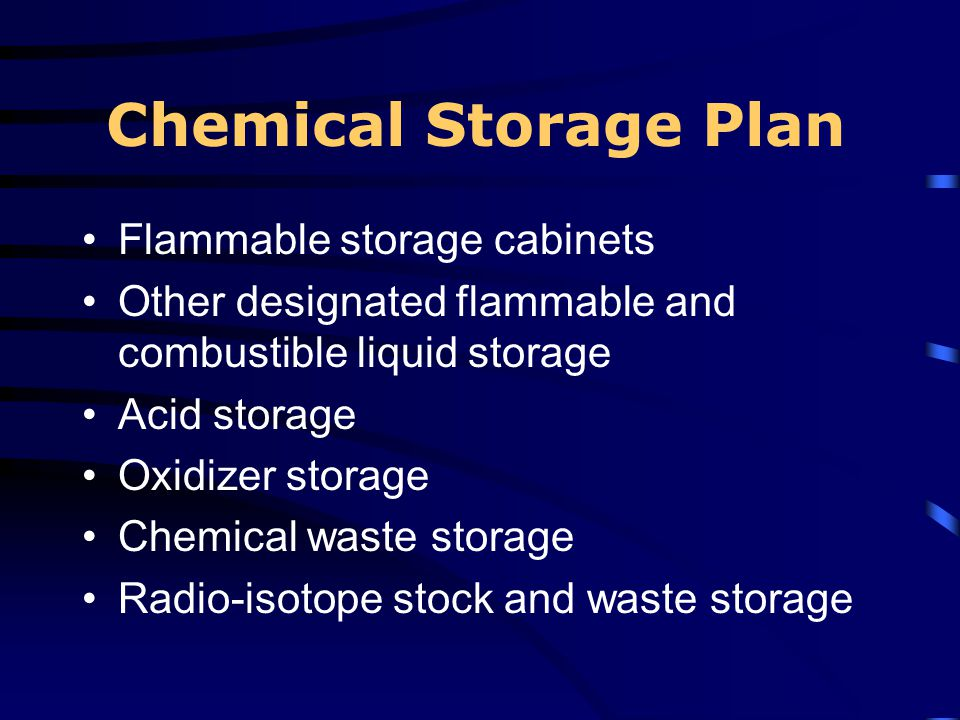 Chemical Storage Plan Flammable storage cabinets