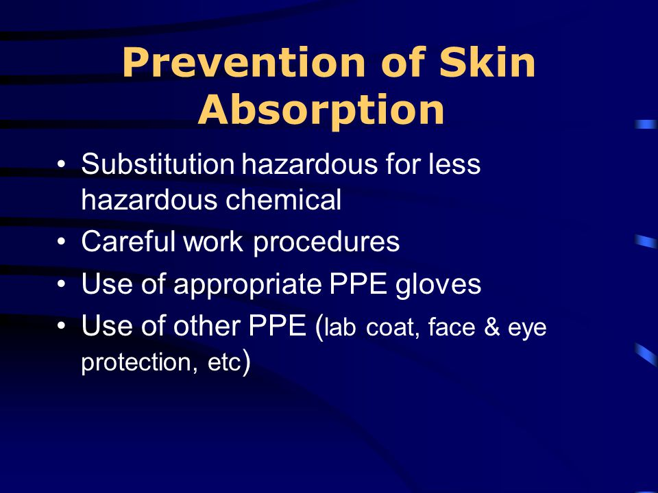 Prevention of Skin Absorption