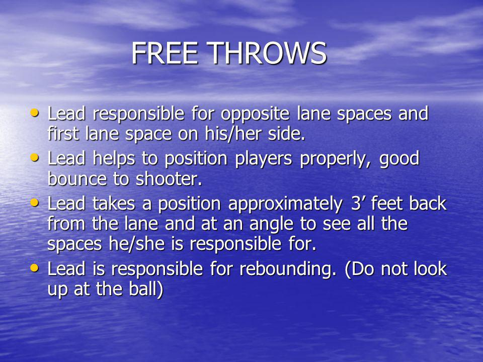 FREE THROWS Lead responsible for opposite lane spaces and first lane space on his/her side.