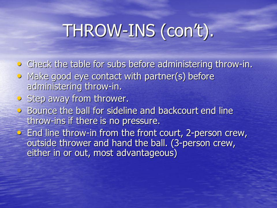 THROW-INS (con't). Check the table for subs before administering throw-in. Make good eye contact with partner(s) before administering throw-in.