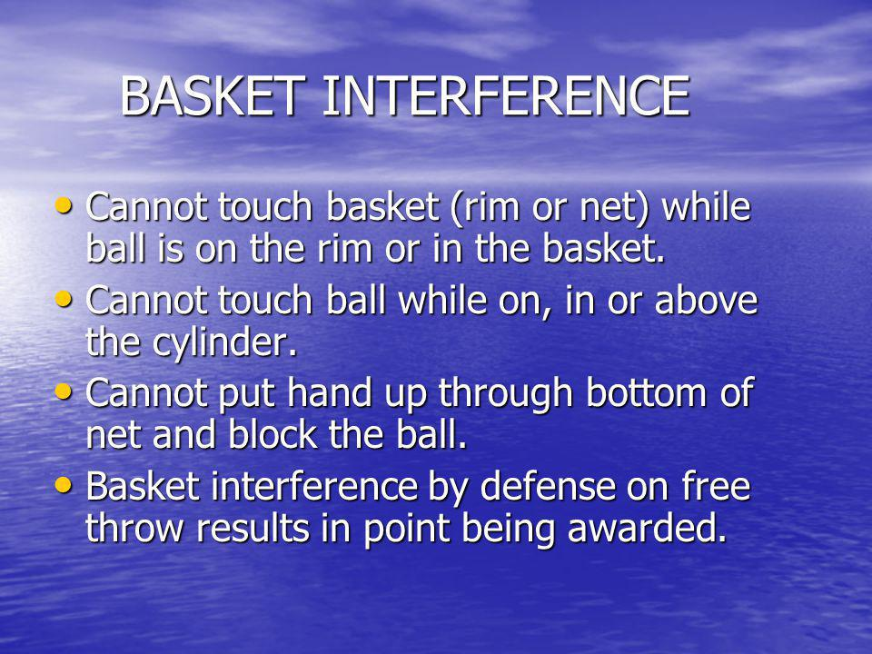 BASKET INTERFERENCE Cannot touch basket (rim or net) while ball is on the rim or in the basket.