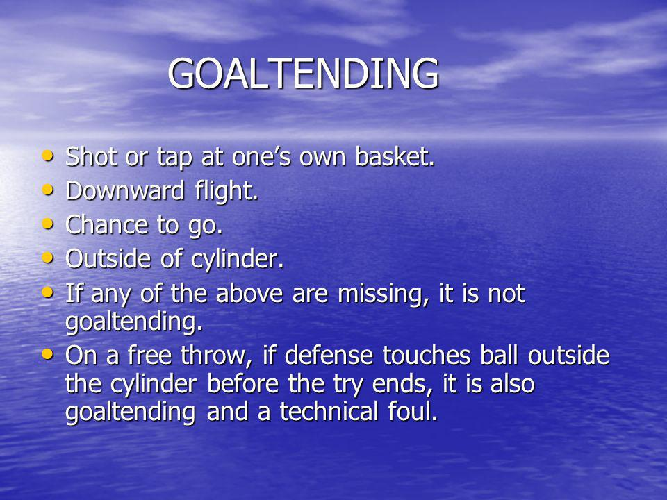 GOALTENDING Shot or tap at one's own basket. Downward flight.