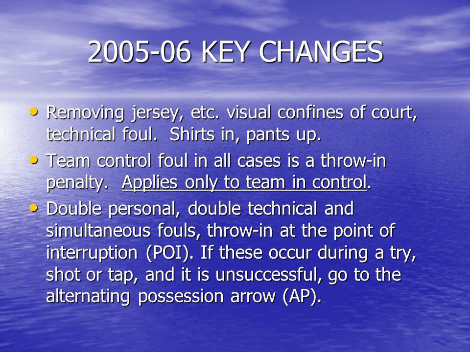2005-06 KEY CHANGES Removing jersey, etc. visual confines of court, technical foul. Shirts in, pants up.