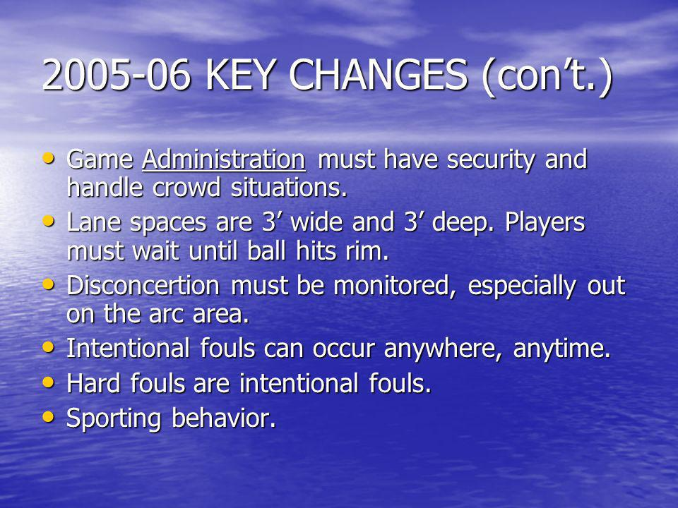 2005-06 KEY CHANGES (con't.) Game Administration must have security and handle crowd situations.