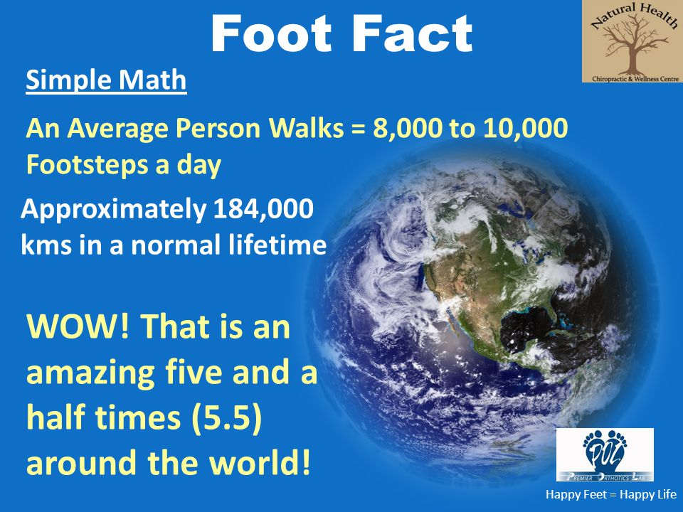 Foot Fact Simple Math. An Average Person Walks = 8,000 to 10,000 Footsteps a day. Approximately 184,000 kms in a normal lifetime.