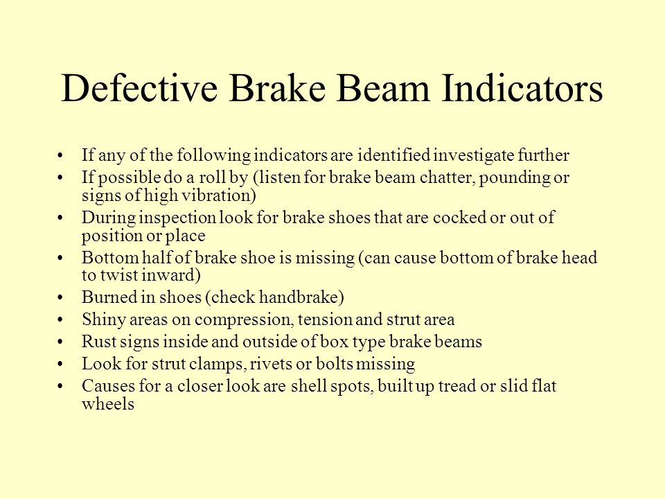 Defective Brake Beam Indicators