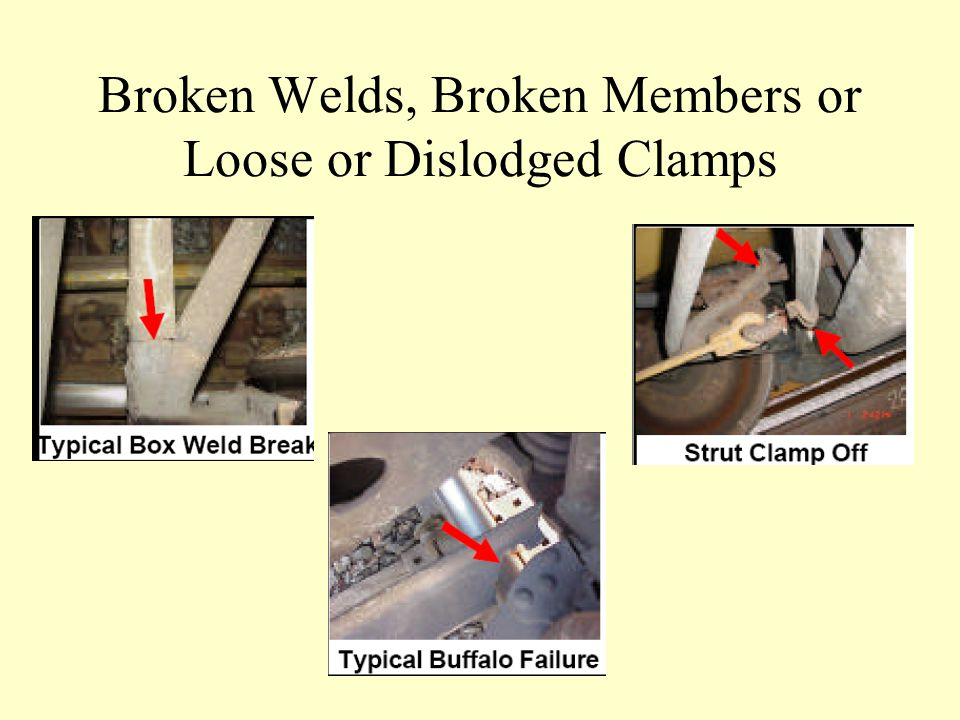 Broken Welds, Broken Members or Loose or Dislodged Clamps