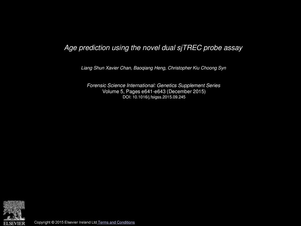 Age prediction using the novel dual sjTREC probe assay - ppt