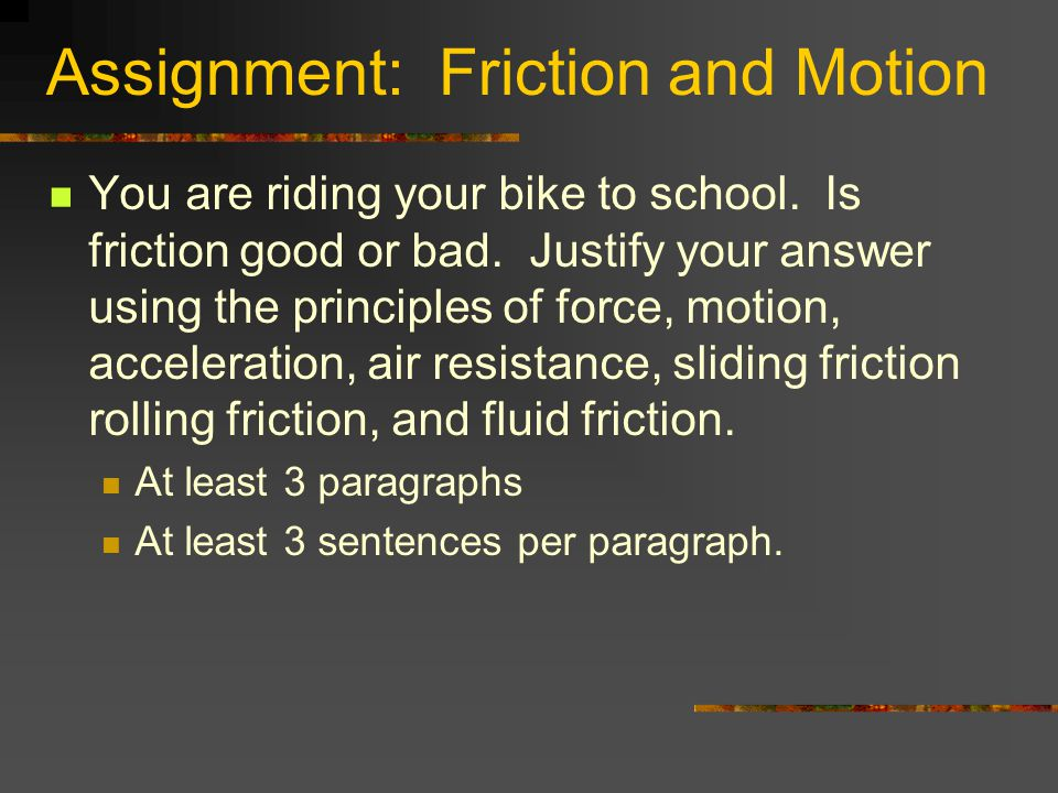 Assignment: Friction and Motion