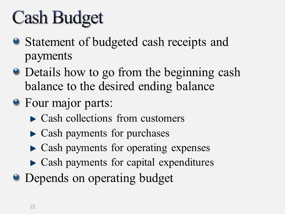Cash Budget Statement of budgeted cash receipts and payments