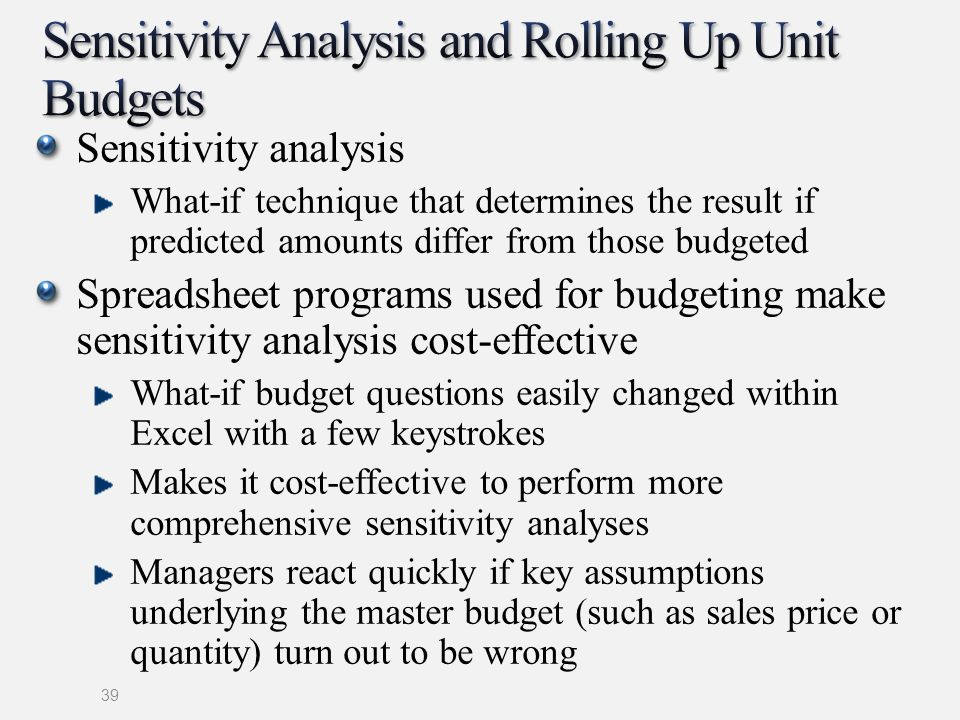 Sensitivity Analysis and Rolling Up Unit Budgets