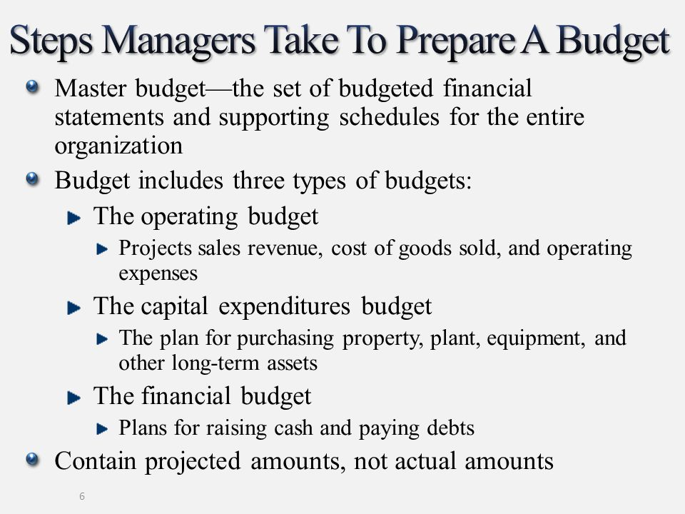 Steps Managers Take To Prepare A Budget