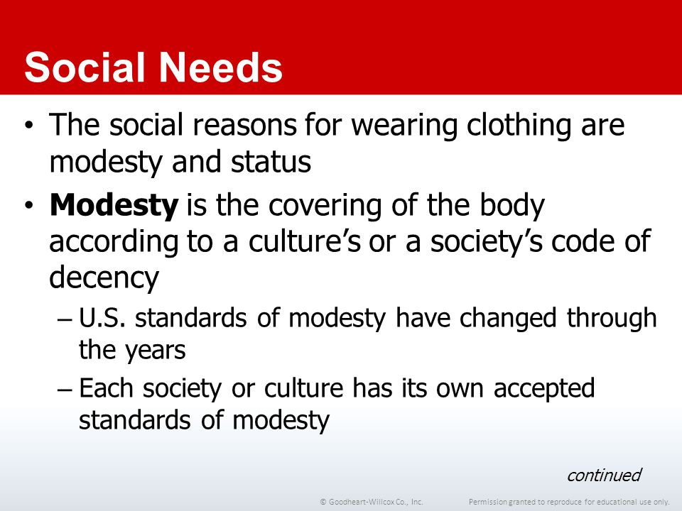 Chapter 1 Social Needs. The social reasons for wearing clothing are modesty and status.