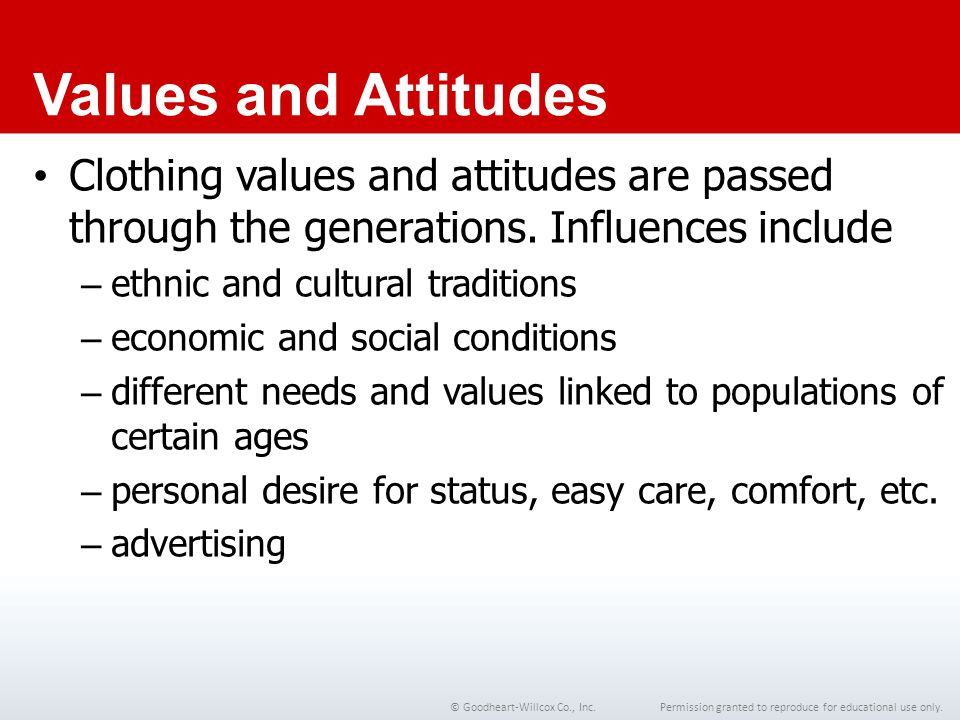 Chapter 1 Values and Attitudes. Clothing values and attitudes are passed through the generations. Influences include.