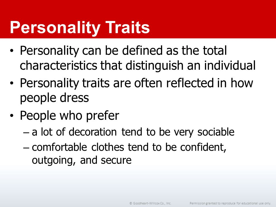 Chapter 1 Personality Traits. Personality can be defined as the total characteristics that distinguish an individual.