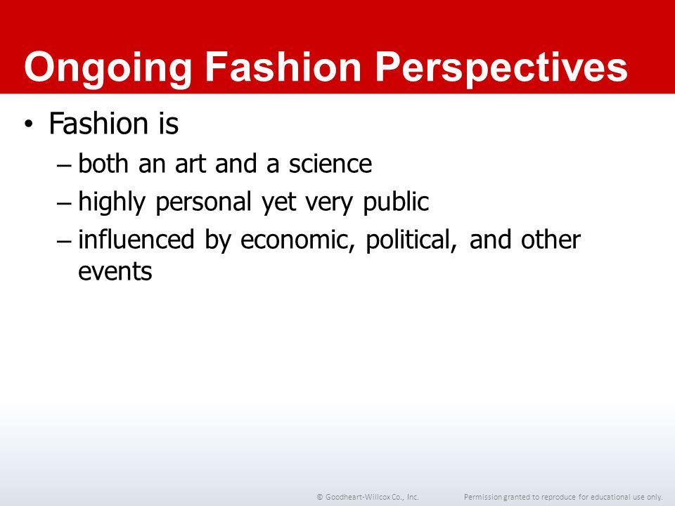 Ongoing Fashion Perspectives