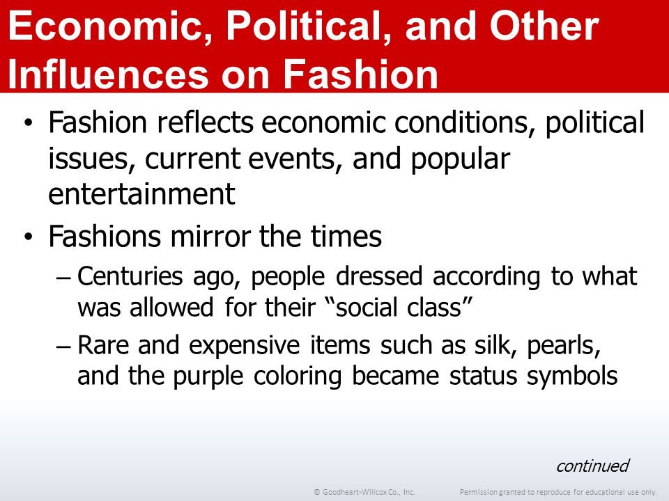 Economic, Political, and Other Influences on Fashion