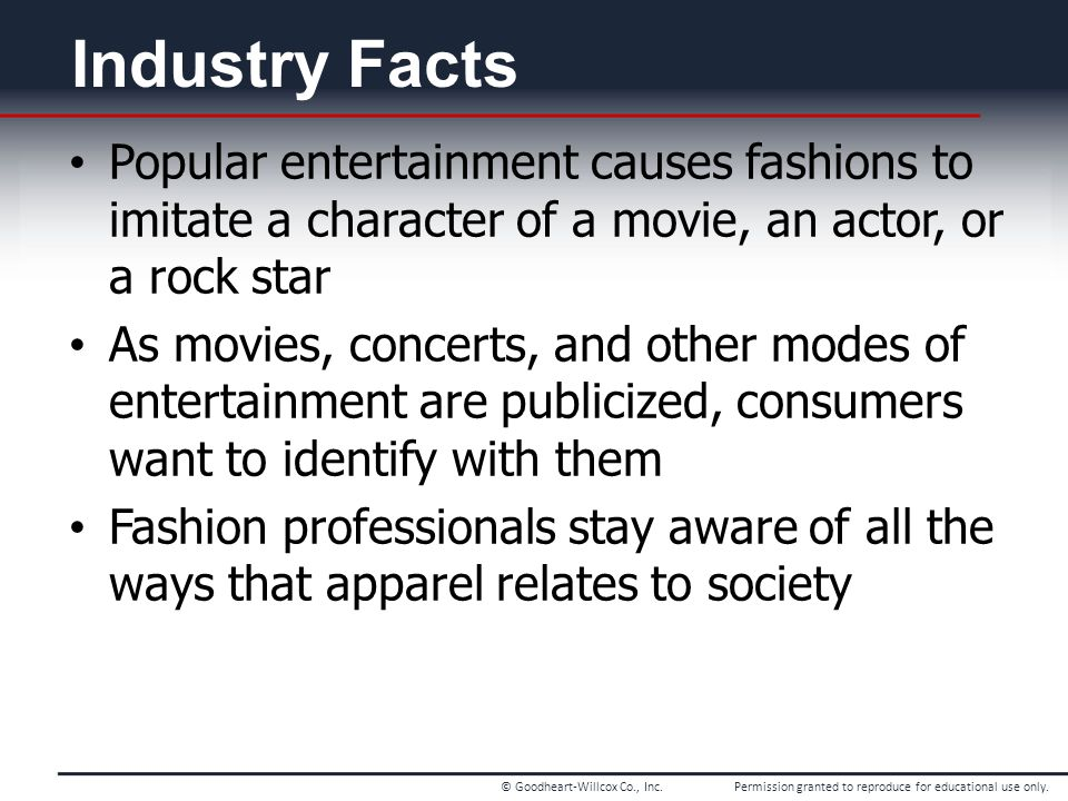 Chapter 1 Industry Facts. Popular entertainment causes fashions to imitate a character of a movie, an actor, or a rock star.