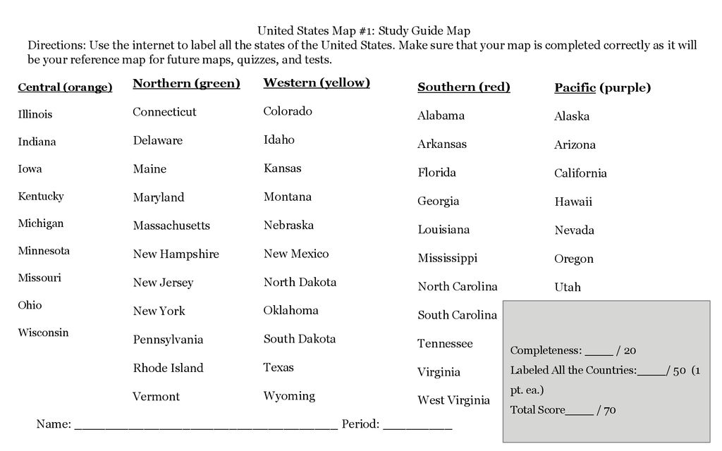 United States Map Study Guide.United States Geography Project Ppt Download