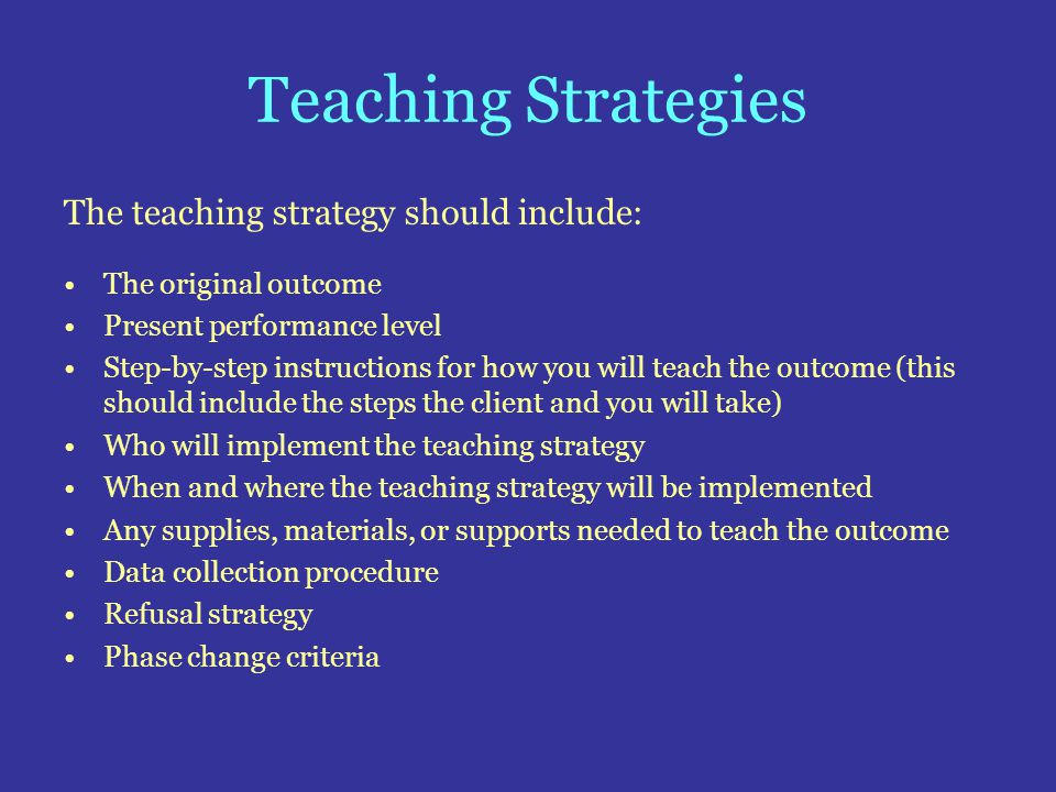 Teaching Strategies The teaching strategy should include: