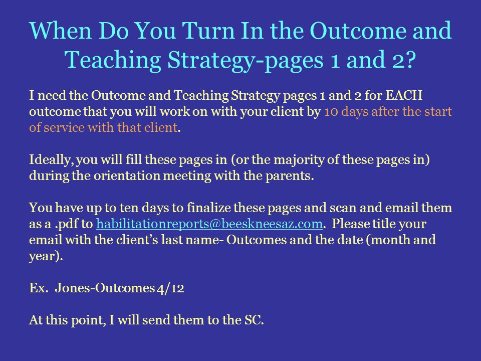 When Do You Turn In the Outcome and Teaching Strategy-pages 1 and 2