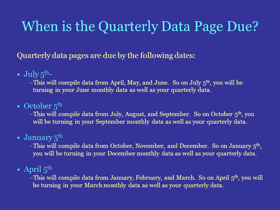 When is the Quarterly Data Page Due