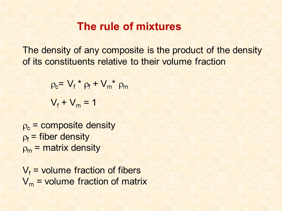 The rule of mixtures The density of any composite is the product of the density of its constituents relative to their volume fraction.