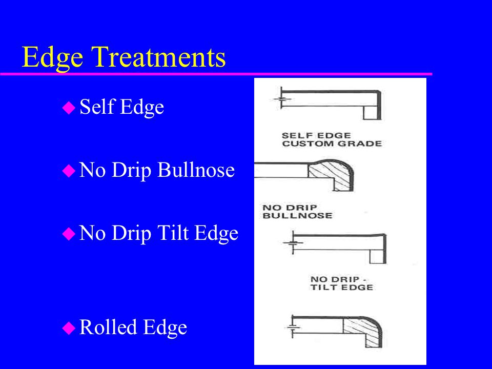 Edge Treatments Self Edge No Drip Bullnose No Drip Tilt Edge