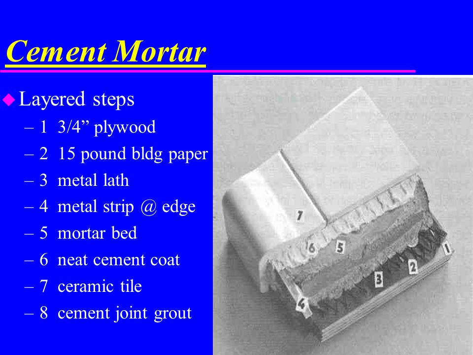 Cement Mortar Layered steps 1 3/4 plywood 2 15 pound bldg paper