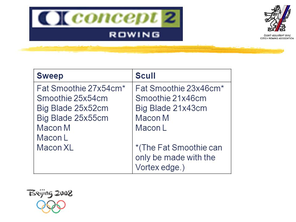 Sweep Scull. Fat Smoothie 27x54cm* Smoothie 25x54cm Big Blade 25x52cm Big Blade 25x55cm Macon M Macon L Macon XL.