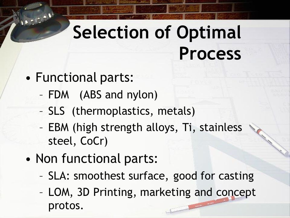 Selection of Optimal Process