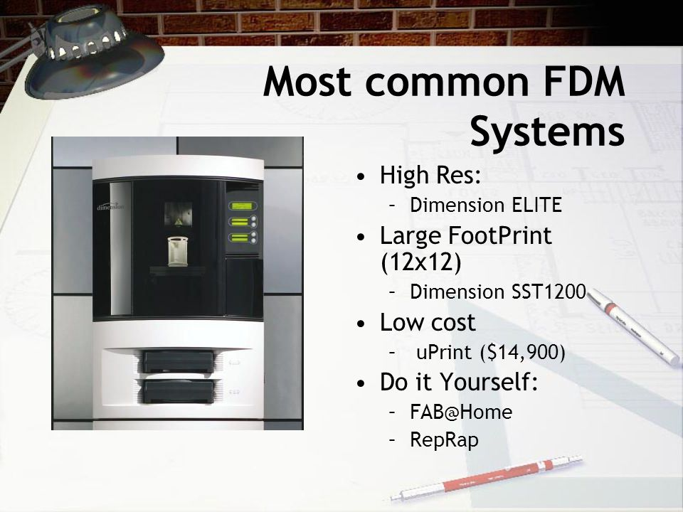 Most common FDM Systems