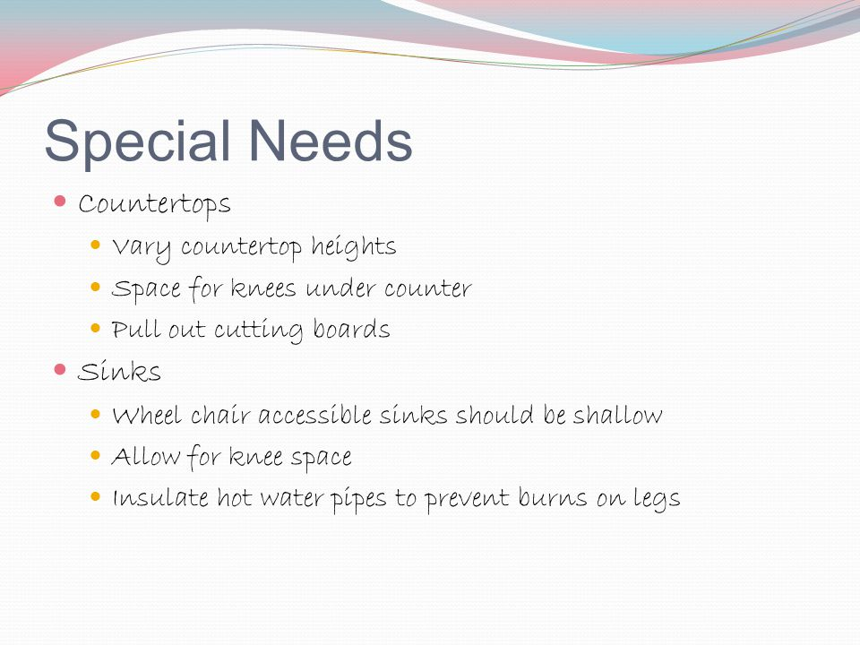 Special Needs Countertops Sinks Vary countertop heights